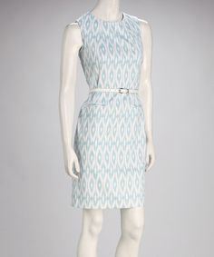Take a look at this Blue Ikat Belted Sheath Dress by Sharagano on #zulily today!