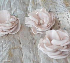 Nude Chiffon Rose Blossom Hair Pin Set  $39.95 set