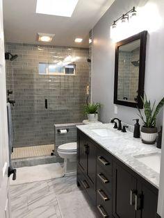 Let us recreate this Luxury Bathroom Renovation for you in Columbus,Ga. Bathroom… Let us recreate this Luxury Bathroom Renovation for you in Columbus,Ga. Bathroom Design Luxury, Modern Bathroom, Dark Vanity Bathroom, Dark Cabinets Bathroom, Bathroom Tile Showers, Shower Tiles, Bath Design, Grey Tile Shower, Dark Wood Bathroom