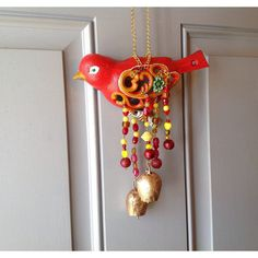 Bird Cast Iron Mobile/Red Painted Mobile/Beaded Mobile/2 Large Chime... ($28) via Polyvore featuring home, home decor, red home accessories, bird home decor, cast iron home decor, mobile home decor and red home decor