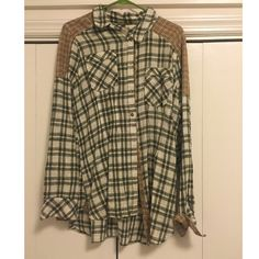 Free people flannel shirt Great condition, Free People flannel shirt. Perfect with leggings Free People Tops Button Down Shirts