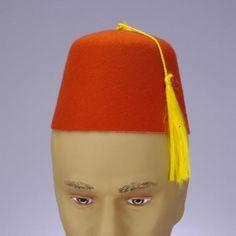 Fez Hat Red W/Blk Trim & Tassel.