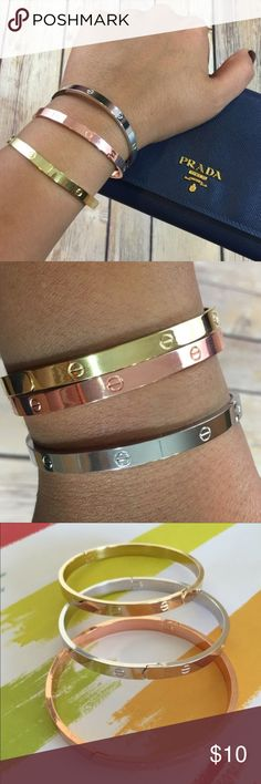"""Love"" Bangle Bracelets Available in 3 colors. Rose Gold, Gold and Silver. Choose color upon check out. The price is for ONE bracelet. If you want multiple ones, let me know Jewelry Bracelets"