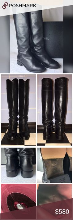 Chanel Ascot Riding Leather Boots CC Logo Eu 36.5 Classic style! Good pre-loved condition. With new rubber sole and heel protectors. Silk burgundy lining is thorn in one boot, it can be fixed I guess, but it doesn't affect the comfort of the boots.  Uppers have some creasing from use. Front toes have minor scuffing from wear.  Soles and insoles also show signs of wear. Overall they look good and full of life:) Come as is, but I'll send them in Chanel box from my other boots. The box is a bit…