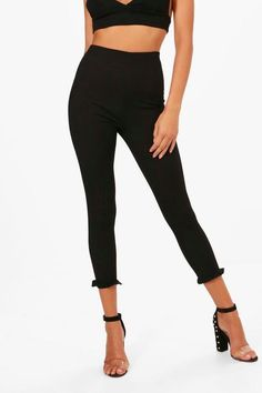 44c09d6d973fe Boohoo Phoebe Ruffle Ankle Ribbed Leggings Black Size UK 10 DH180 BB 10 # fashion #