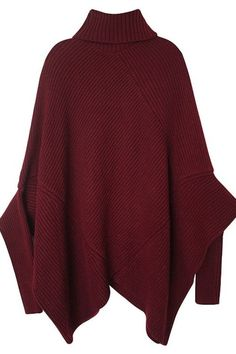 Dark Red Knitted Turtleneck Poncho Sweater