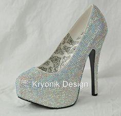 in my size Bordello Shoes Teeze 06R Silver Iridescent Rhinestone Stiletto Heels Pumps 6 12   eBay