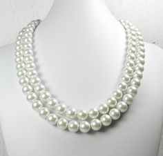 Chunky Pearl Necklace Pearl Bridal Jewelry by UrbanPearlStudio, $57.00