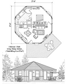 Patio Collection PT-0221 (600 sq. ft.) 1 Bedrooms, 1 Baths