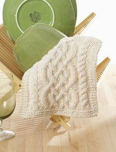 Celtic Cables Dishcloth by Lily Sugar'n Cream