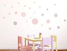 """I-love-Wandtattoo WAS-10090 Kinderzimmer Wandsticker Set """"Kreise mit Muster für Mädchen"""" 25 Stück zum Kleben Wandtattoo Wandaufkleber Sticker Wanddeko"""