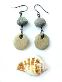 Beach stone earrings for sipping wine by the sea. - Authentic Arts | Natural Jewelry by  Jenny Hoople