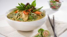 Recipe for thai green chicken curry with butternut squash and brown sticky rice.