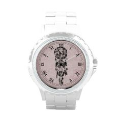 Girly Black lace dreamcatcher on pink floral lace Wrist Watches
