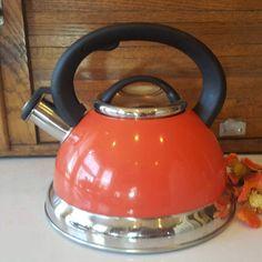 Mr. Coffee Salmon and Chrome Round Tea Kettle Pot, Farmhouse Kitchen, Country, Cottage Chic, Modern Appliances, Tea Lover