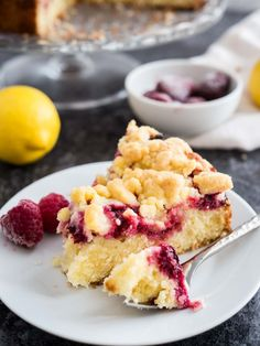 Full Cravings — This easy Lemon Raspberry Cake is topped with...