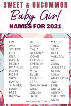 Sweet Baby Girl Names, Baby Girl Names List, Baby Girl Names Uncommon, List Of Girls Names, Baby Girl Names Unique, Girl Names With Meaning, Cool Baby Names, Cute Names, Kid Names