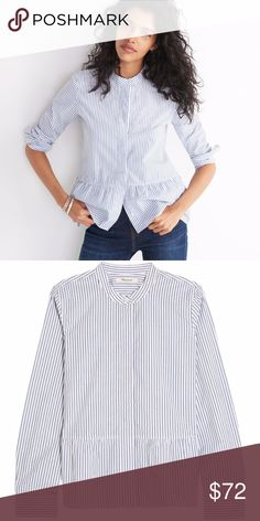 a470c7a1d587c0 NWT Madewell Lakeside Peplum Shirt in Stripe Equal parts tomboy and lady