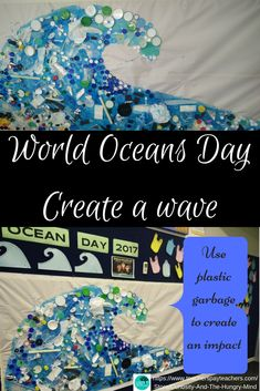 Create a Wave by recycling garbage into art. Make a stand against pollution in our oceans. This collage creates an impact. Great STEAM activity. Science and Environment.