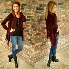 Red&Black cardi! Perfect for those cold weather games...we can hope! ;) #gameday #redandblack #wps #howlyes #sweaterweather #sweater #fall #fallfashion #cardigan #bronze_bombshell_salon
