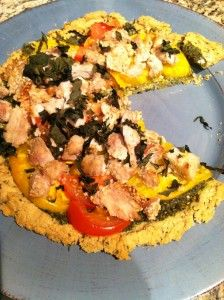 Easy Gluten-Free Herbed Pizza Crust topped with Sesame Turkey Bites, Pesto and Fresh Tomatoes (dairy-free and high-protein)