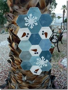 Love this wool hexagon table topper by Sweet P Quilting and Creations