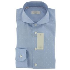 Eton - New 2014 Eton Blue and White Spotted Shirt - Contemporary Fit