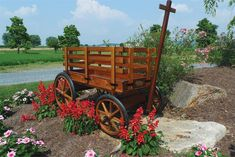 Amish Wooden Express Wagon - Medium Premium Wagon & Wheelbarrow Collection Amish wagons make ideal bases for beautiful garden displays of all shapes and sizes. With handcrafted Amish con
