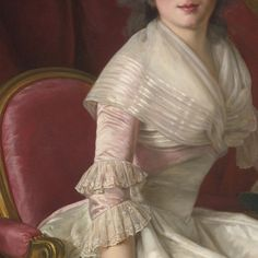 Fichu and pink silk sleeve with two tiers of lace of a cream silk gown Detail from PORTRAIT OF A LADY  by  Rose-Adélaïde Ducreux (1761 - 1802 ) via Jaded Mandarin. Full portrait here: http://www.sothebys.com/en/auctions/ecatalogue/2014/old-master-paintings-n09102/lot.296.html