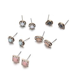 Onnea I Love You Girls Diamante Geo Small Rhinestone Stud Earrings Set