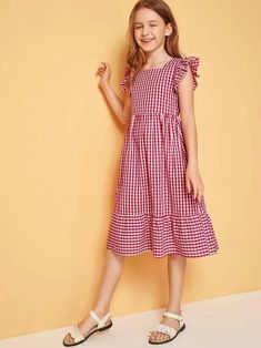 To find out about the Girls Ruffle Trim Gingham Dress at SHEIN, part of our latest Girls Dresses ready to shop online today! Kids Frocks, Frocks For Girls, Little Girl Dresses, Girls Dresses, Frock Design, Houndstooth Dress, Gingham Dress, Cute Dresses, Casual Dresses