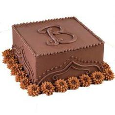 How to decorate a Chocolate Monogram Cake.