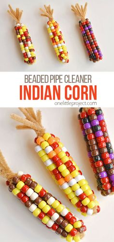 This beaded pipe cleaner Indian corn craft is SO FUN! And it's so simple to make. All you need are two simple supplies that you can usually find at the dollar store. This is such a fun and easy kids craft and a super fun Thanksgiving activity. Crafts For Boys, Crafts To Do, Easy Crafts, Decor Crafts, Paper Crafts, Rustic Crafts, Homemade Crafts, Pipe Cleaner Crafts, Pipe Cleaners