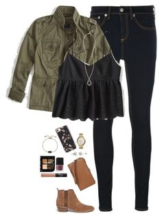 """""""Babydoll cami, military jacket & dark denim"""" by steffiestaffie ❤ liked on Polyvore featuring rag & bone/JEAN, Abercrombie & Fitch, Michael Kors, Kendra Scott, NARS Cosmetics, Casetify, FOSSIL and MICHAEL Michael Kors"""