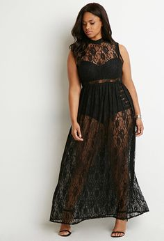 Sheer Lace Maxi Dress | Forever 21 PLUS - 2000154474