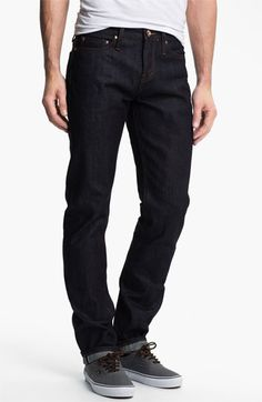 The Unbranded Brand 'UB201' Tapered Fit Raw Selvedge Jeans (Indigo) available at #Nordstrom