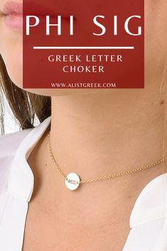 Stay trendy while still rocking your Phi Sig Greek letters with this adjustable choker in rose gold, sterling silver and gold. Shop at www.alistgreek.com! #jewelry #choker #discnecklace #necklace #layering #layerednecklace #greekletters #custom #engraved #personalized #gold #silver #sorority #sororitylife #sororityletters #phisigmasigma #phisig #phisigletters #biddaygifts