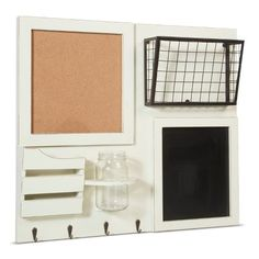 Wood and Metal Combination Board with Hooks - White : Target
