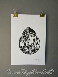 """ Toadstool Garden""  This is an Adorable Lino Cut Print which was Designed, Hand Carved and Printed by myself is now available on my Etsy shop!  