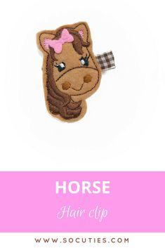 Horse Felt embroidery hair clip  / non slip hair clip / girl hair clip / girl barrette / hair clip baby / hair clip for girls