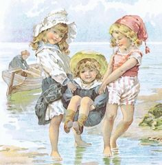Vintage MOTHER GOOSE Print 'If All the Seas Were One Sea', Adorable, Little Girls, Ocean, Seashore, Sea Shell, Kids at Play, Children