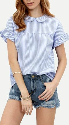 Shop Striped Peter Pan Collar Self-tie Blouse online. SheIn offers Striped Peter Pan Collar Self-tie Blouse & more to fit your fashionable needs. Blouse Col Claudine, Woman Outfits, Fashion Outfits, Women's Fashion, Peter Pan Collar Blouse, Collar Top, Blue Crop Tops, Stripes Fashion, Short Sleeve Blouse