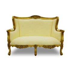 Camille Love Seat Gold Ivory