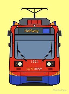 'Sheffield Tram' Art Print by Charlie Care Sheffield Art, Sheffield Steel, Yorkshire City, Print Design, My Design, Train Drawing, Thing 1, Digital Media, Large Prints