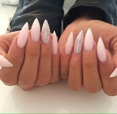 awesome Pointed nails with diamond rhinestones on them nude pink prom...