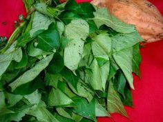 come-se: Batata-doce. Folhas e docinhos coloridos