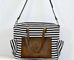 Thin Stripe Canvas and Leather Diaper Bag, $185.00