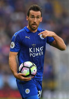 Christian Fuchs Photos - Christian Fuchs of Leicester City looks on during the Premier League match between Leicester City and Burnley at The King Power Stadium on September 2016 in Leicester, England. - Leicester City v Burnley - Premier League Christian Fuchs, King Power, Premier League Matches, Burnley, Leicester, Soccer Ball, Squad, City, Sports