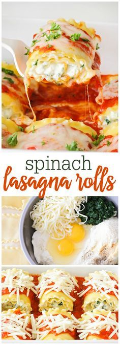 Spinach Lasagna Rolls - A delicious, quick, and easy dinner recipe!! Lasagna noodles rolled up with a delicious three-cheese and spinach mixture! This will be a hit!