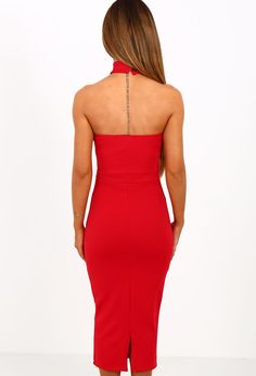 Look totally fierce on your next night out in this amazing red midi dress! This red halterneck dress features a mesh detailed front and fastens with buttons at the back of the neck. Team this bodycon with a pair of barely theres and a clutch for total out Amazing Red, Pink Midi Dress, Brand Me, Night Out, Fashion Brands, Mesh, Boutique, Formal Dresses, My Style